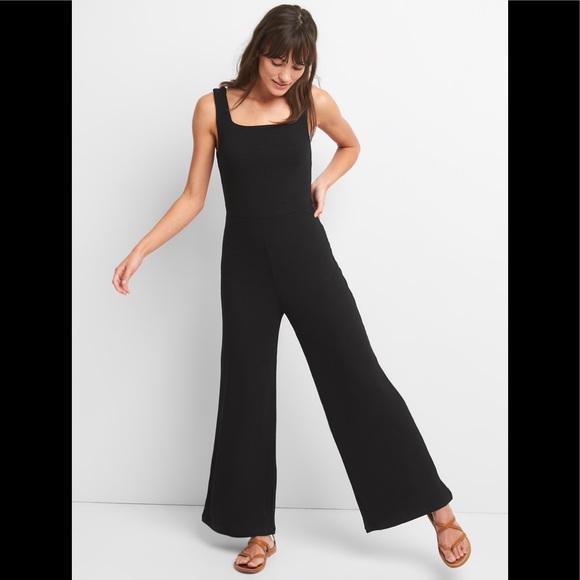 c5987831b58e GAP Pants - GAP Ribbed Softspun Square-Necked Jumpsuit Black